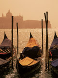 Gondolas on San Marco Canal and Church of San Giorgio Maggiore at Sunset  Venice  Veneto  Italy
