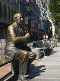 Statue in Quincy Market  Boston  Massachusetts  New England  USA