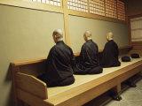Monks During Za-Zen Meditation in the Zazen Hall  Elheiji Zen Monastery  Japan