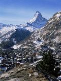 The Matterhorn  and Zermatt Below  Valais  Switzerland
