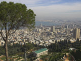 Elevated View of City and Bay from Mount Carmel  Haifa  Israel  Middle East