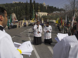 Palestinian Priests Heading the Palm Sunday Catholic Procession  Mount of Olives  Jerusalem  Israel