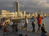 Men Fishing at Sunset  Avenue Maceo  El Malecon  Havana  Cuba  West Indies  Central America