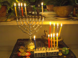 Jewish Festival of Hanukkah  Three Hanukiah with Four Candles Each  Jerusalem  Israel  Middle East