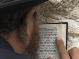 An Orthodox Jew Holding Prayer Book Against the Wall and Praying  Western Wall  Jerusalem  Israel