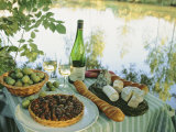 Food and Wine on a Table Beside the River Loire  France