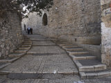 Two Palestinian Women Walking Down a Street Along the City Walls  Old City  Jerusalem  Israel