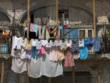 Large Quantity of Laundry Hanging from the Balcony of a Crumbling Building  Habana Vieja  Cuba