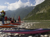 Group of People Getting Ready for Canoeing on the Soca River  Julian Alps  Slovenia