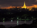 Shwedagon Paya at Dusk with Kandawgyi Lake in Foreground  Yangon (Rangoon)  Myanmar (Burma)