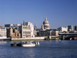 River Thames and City Skyline Including the Dome of St Pauls Cathedral  London  England