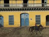 Man Riding Horse Past the Galeria Del Arte (Art Gallery)  Plaza Mayor  Trinidad  Cuba