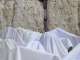Men Covered with White Prayer Shawls Receiving the Blessing of the Cohens  Western Wall  Israel