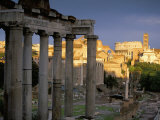 View Across Roman Forum Towards Colosseum and St Francesca Romana  Rome  Lazio  Italy