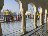 Group of Sikh Women Pilgrims Walking Around Holy Pool  Golden Temple  Amritsar  Punjab State  India