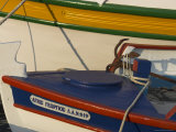 Close up of Two Freshly Painted Fishing Boats  Sitia  Crete  Greek Islands  Greece