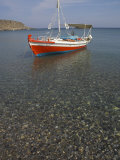 Colourful Fishing Boat on Sea  Kato Zakro  East Coast  Crete  Greek Islands  Greece