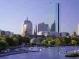 City Skyline in Early Morning  Boston  Massachusetts  New England  USA