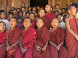 Group of School Children  Including Young Monks  Singing  Village of Thit La  Shan State  Myanmar