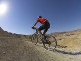 Rear View of Competitior in the Mount Sodom International Mountain Bike Race  Dead Sea Area  Israel