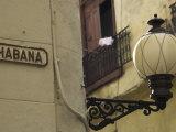 Habana Street Sign and Lampost  Obispo Street  Havana Vieja  Havana  Cuba