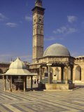 Courtyard with Fountains and Minaret Beyond  Jami'A Zaqarieh Grand Mosque  Aleppo  Syria