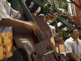 Counterbass with Trumpet Player  Part of Traditional Band Playing in a Cafe  Habana Vieja  Cuba