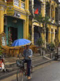 Man Riding a Bike and Holding Umbrella  Hoi An  Indochina