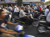 Crowd of People Riding Mopeds  Pham Ngu Lao Area  Ho Chi Minh City (Saigon)  Vietnam