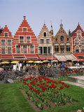 Gabled Buildings and Restaurants  Bruges  Belgium