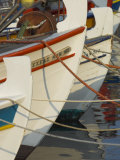 Close up of the Front of Three Fishing Boats in the Harbour  Sitia  Crete  Greek Islands  Greece