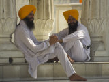 Two Sikhs Priests with Orange Turbans  Golden Temple  Punjab State