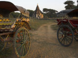 View at Sunset with Horse Cart and Typical Temple  Bagan (Pagan)  Myanmar (Burma)
