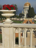 Bahai Gardens and Shrine  with Temple in the Background  Haifa  Israel  Middle East