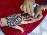 Henna Designs Being Applied to a Woman&#39;s Hand  Rajasthan State  India
