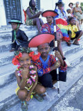 People Dressed Ready for the Carnival Procession  Guadeloupe  West Indies  Caribbean