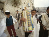 Jewish Bar Mitzvah Ceremony at the Western Wall (Wailing Wall)  Jerusalem  Israel  Middle East