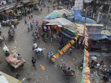 Local Market and Rickshaws Seen from Above  Pahar Ganj  Main Bazaar  New Delhi  Delhi  India