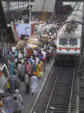 Train Ariving at Crowded Platform in New Delhi Train Station  Delhi  India