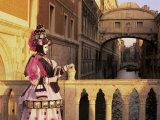 Carnival Costume and the Bridge of Sighs  Venice  Veneto  Italy