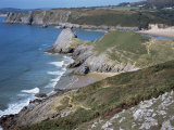 Pobbles Beach from the Pennard Cliffs  Gower  Wales  United Kingdom