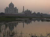 View at Dusk Across the Yamuna River of the Taj Mahal  Agra  Uttar Pradesh State  India