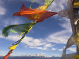 Prayer Flags with Snowy Kangchendzonga Beyond in Morning Light  Sandakphu  West Bengal State