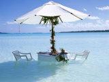 White Table  Chairs and Parasol in the Ocean  Bora Bora (Borabora)  Society Islands