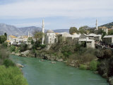 Grand Mosque (Karadjoz Beg) and River Neretya  Mostar  Bosnia Herzegovina