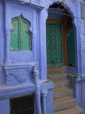 Entrance Porch and Window of Blue Painted Haveli  Old City  Jodhpur  Rajasthan State  India