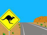 Illustration of a Road Sign at Ayers Rock  Australia