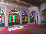 Colourful Stained Glass in the Maharaja's Throne Room  Meherangarh Fort Museum  Jodhpur  India