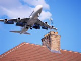 Low-Flying Aircraft Over Rooftops Near London Heathrow Airport  Greater London  England