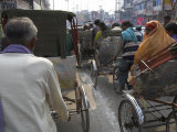 Rickshaw Transport on Busy Street  Varanasi  Uttar Pradesh State  India